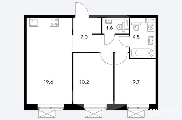 Продаётся 2 комнатная квартира. Общая площадь 53 кв.м.