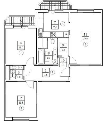 3-комнатная квартира с евроремонтом недалеко от метро Новокосино
