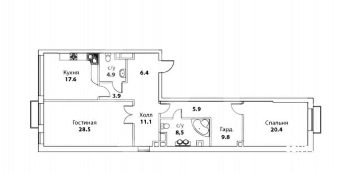 """Премиальная квартира в ЖК """"Barrin House"""" в Хамовниках"""