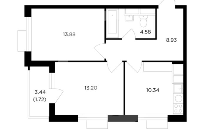 2 комнатная квартира в ЖК TopHills