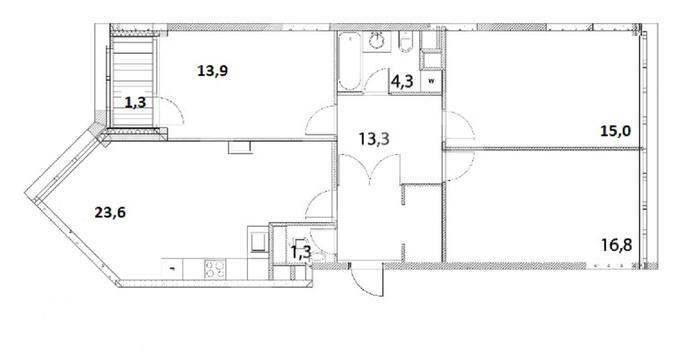 Просторная квартира площадью 92, м²